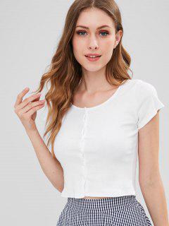 Ribbed Button Up Crop Top - White S