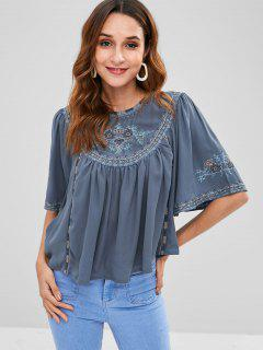 Cape Sleeves Floral Swing Blouse - Mist Blue L