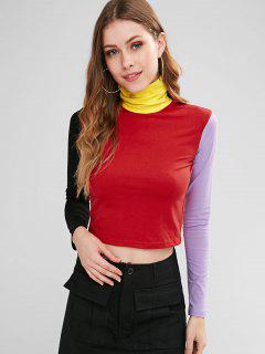 Turtleneck Color Block T-shirt - Multi L
