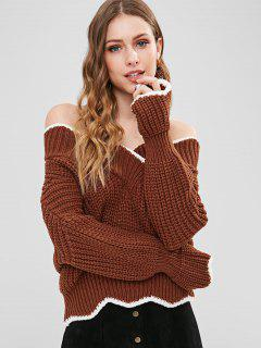 Off Shoulder Scalloped Chunky Sweater - Chestnut