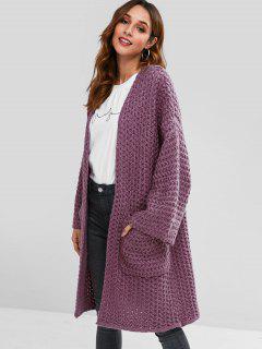 Chunky Knit Oversized Long Cardigan - Viola Purple