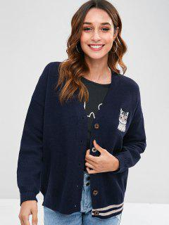 Cat Embroidered Drop Shoulder Cardigan - Navy Blue