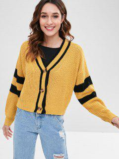 Striped Drop Shoulder Boxy Cardigan - Mustard M
