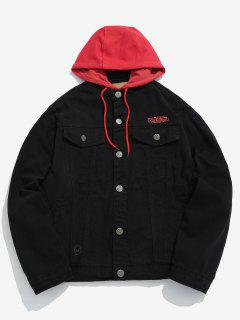 Embroidered Letter Patchwork Hooded Denim Jacket - Black 2xl