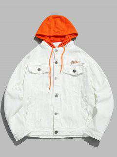 Embroidered Letter Patchwork Hooded Denim Jacket - White S