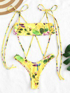 ZAFUL Floral Print Strappy High Cut Bikini Set - Corn Yellow S
