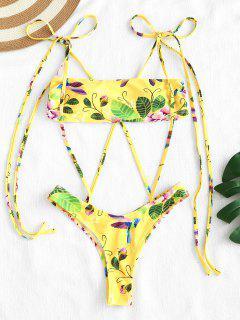 ZAFUL Floral Print Strappy High Cut Bikini Set - Amarillo De Maíz L