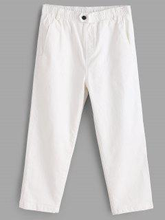 Button Embellished Pocket Capri Pants - White
