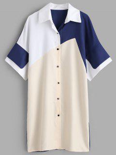 Vestido De La Camisa De Patchwork - Multicolor Xl