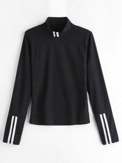 Mock Neck Long Sleeve Tee - Black L
