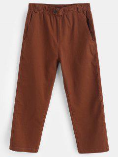 Button Embellished Pocket Capri Pants - Chestnut