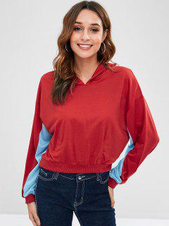 Drop Shoulder Two Tone Hoodie - Lava Red Xl