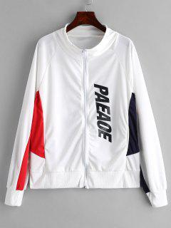 Zip Up Contrast Sports Sweatshirt - White 2xl