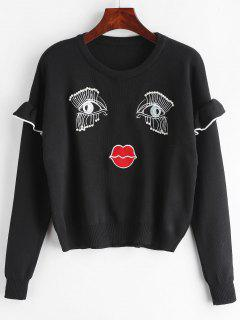 Embroidery Faux Pearl Ruffled Sweater - Black