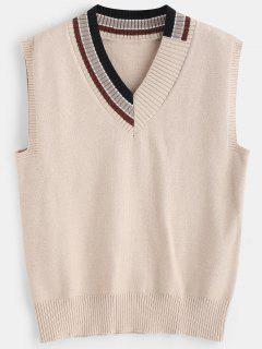 Striped V Neck Sweater Vest - Apricot