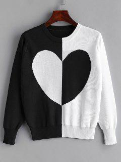 Pull Coeur Bicolore - Noir