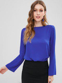 High Low Criss Cross Bluse - Blau L