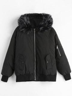Faux Fur Trim Quilted Short Winter Jacket - Black M
