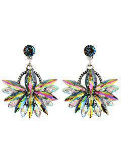 Rhinestone Floral Drop Earrings - Multi-e