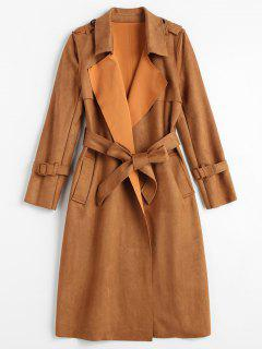 Faux Suede Trench Coat - Brown Xl