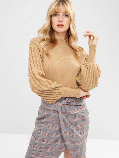 High Neck Lantern Sleeve Sweater - Khaki M