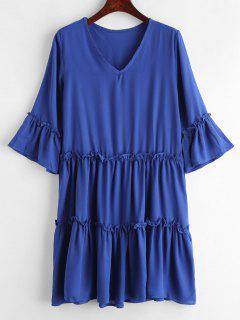 Flare Sleeve Frills Chiffon Dress - Blue L