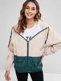Hooded Two Tone Print Zip Jacket - Apricot M