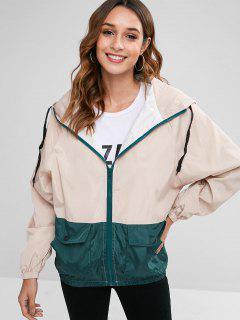 Hooded Two Tone Print Zip Jacket - Apricot L