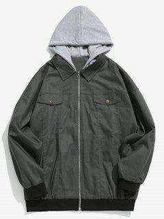 Embroidered Letter Patchwork Hooded Jacket - Gray L