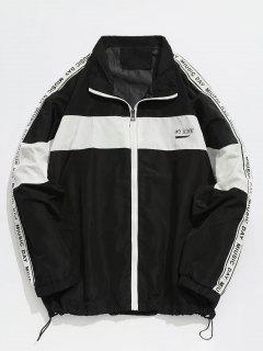 Contrast Striped Letter Casual Jacket - Black L
