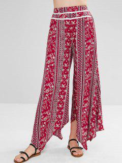 ZAFUL Floral Slit Palazzo Bohemian Pants - Multicolor Xl