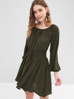 ZAFUL Chiffon Flare Sleeve Smocked Dress - Dark Forest Green S