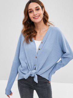 Button Front Drop Shoulder Cardigan - Blue Koi S