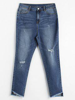 ZAFUL Distressed High Waisted Mom Jeans - Denim Blue L
