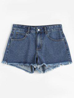 ZAFUL - Ausgefranste Denim-Shorts - Blau M