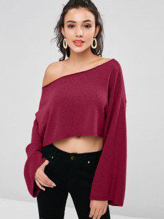 ZAFUL Skew Collar Drop Shoulder Crop Sweater - Red Wine