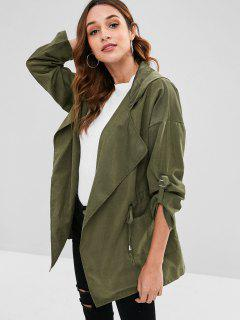 Hooded Drawstring Tunic Coat - Army Green L