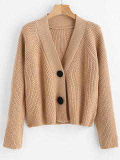 Button Up Raglan Sleeve Cardigan - Camel Brown