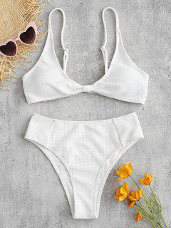 ZAFUL Textured Twisted Hoch Taillierte Bikini-Set - Weiß L