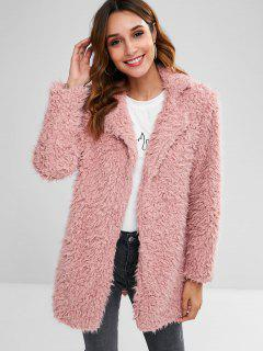 Straight Fluffy Tunic Coat - Pink Xl