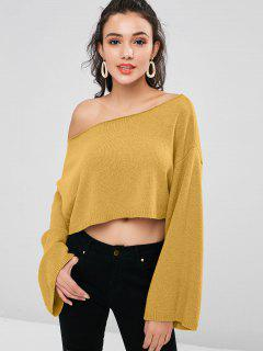 ZAFUL Skew Collar Drop Shoulder Crop Sweater - Orange Gold