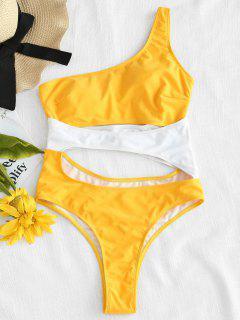 ZAFUL Traje De Baño Color Block Con Recorte En El Hombro - Amarillo Brillante S