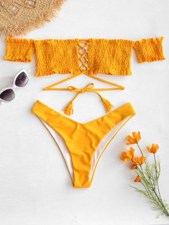 ZAFUL Off Shoulder Smocked Thong Bikini Set - Mustard S