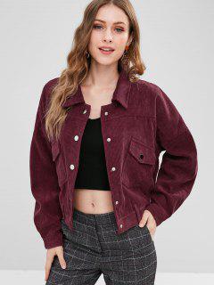 Drop Shoulder Pocket Corduroy Jacket - Red Wine L