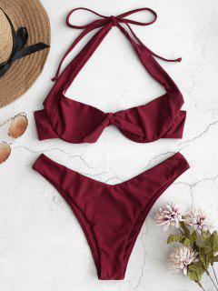 Halfter Geknotete Bikini-Set - Schamotte M