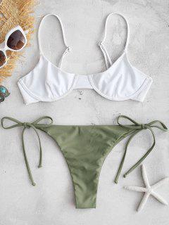 ZAFUL Color Block String Bikini Set - Army Green S
