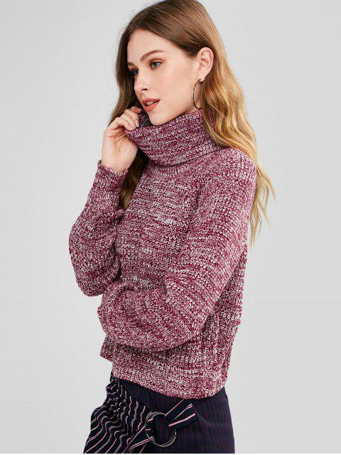 shops Turtleneck Heathered Pullover Sweater - PURPLISH RED ONE SIZE Mobile