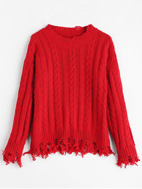 chic Ripped Fringed Cable Knit Sweater - RED ONE SIZE Mobile