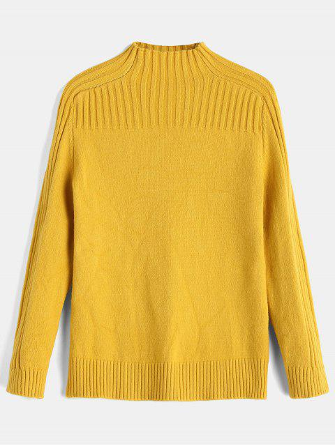 buy Ribbed Yoke Funnel Collar Sweater - YELLOW ONE SIZE Mobile