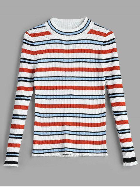 women Colored Striped Ribbed Sweater - MULTI ONE SIZE Mobile